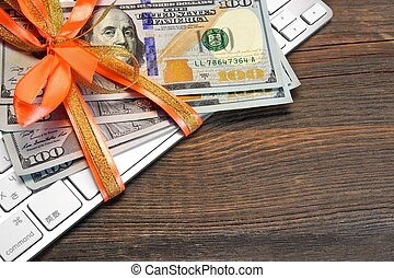 Money Tied With A Ribbon On The Keyboard - Money Tied With A...