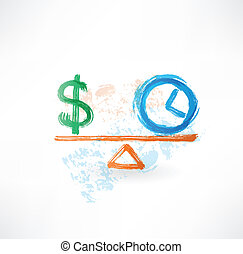 money time balance grunge icon