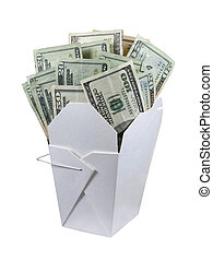 Money To Go - A wax paper box that is folded up to hold take...