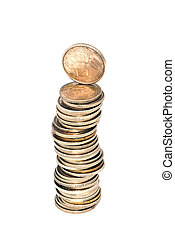 money tower made of coins over white
