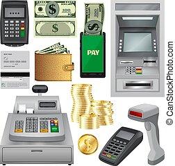 Money transactions mockup set, realistic style