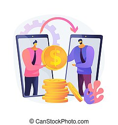 Money transfer abstract concept vector illustration.