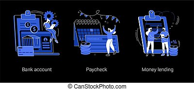 Money transfer abstract concept vector illustrations.