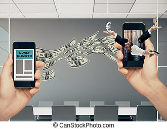 Money transfer and digital banking concept. Hands holding...