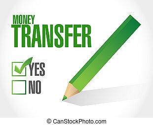 money transfer approval illustration design over a white...