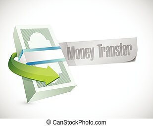 money transfer bills illustration design over a white...