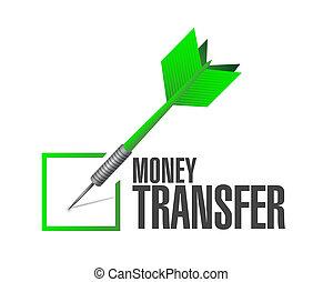 money transfer check dart illustration design over a white...