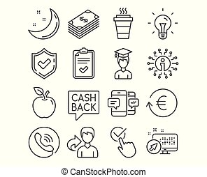 Money transfer, Checklist and Dollar icons. Smartphone sms, Exchange and Takeaway signs. Vector