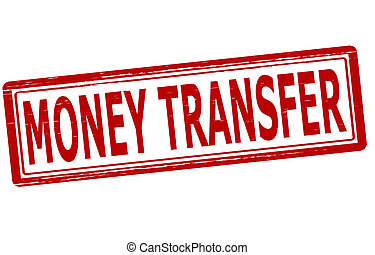 Money transfer - Stamp with text money transfer inside,...