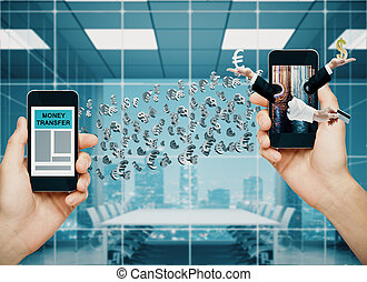 Money transfer concept. Hands holding two smartphones with...