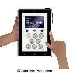 Money transfer concept. Smart tablet background