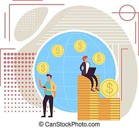 Money transfer concept. Vector flat graphic design illustration