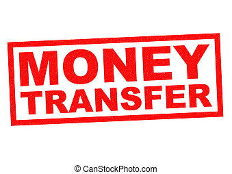MONEY TRANSFER red Rubber Stamp over a white background.