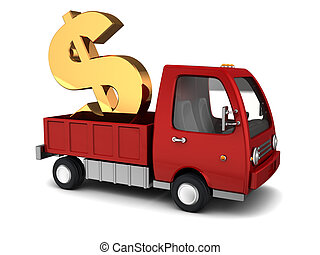 money transfer - 3d illustration of truck with dollar sign,...