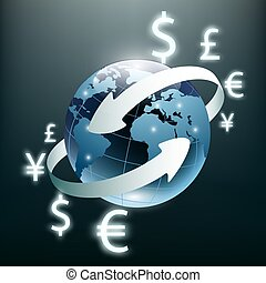 Money transfer. Global Currency. Stock Exchange. Stock vector il