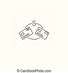 Money transfer icon isolated. Single thin line symbol of plastic cards.