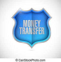 money transfer secure shield illustration design over a...