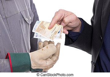 Money transfer - Businessman hands craftsmen with gloves...