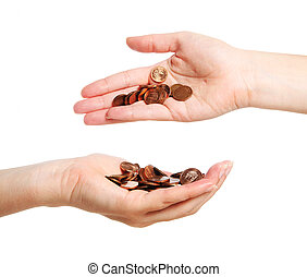 Money transfer - A picture of two hands full of coins over...
