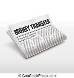 money transfer words on newspaper
