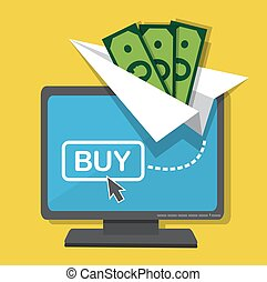 Money on a paper plane flies out of a computer monitor