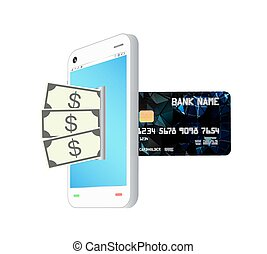money transform by smartphone - money note bank transform by...