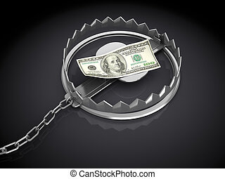 money trap - 3d illustration of trap with dollar banknote,...