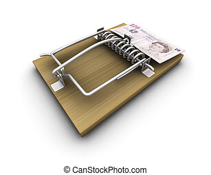 Money trap - 3D render of a mousetrap with money on it