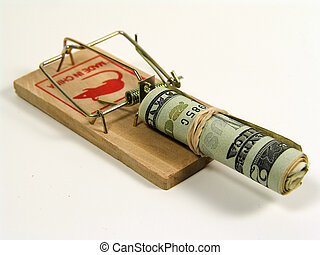 Money Trap - Photo of a Mousetrap With Money as Bait.
