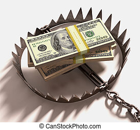 Money Trap - Stack of US dollars into a trap. Clipping path...