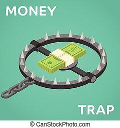 Money trap. Vector flat illustration. Flat 3d isometric...