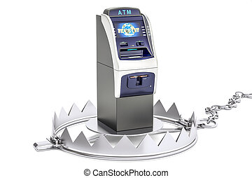Money trap with ATM machine, 3D rendering