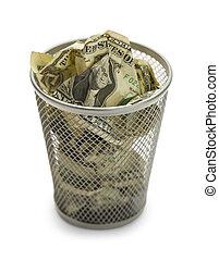 Waste Basket Full of Money Isolated on White Background.