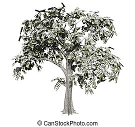 An old oak-looking tree with hundred dollar bills for leaves.