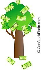 a simple tree with paper money growing on it isolated on white
