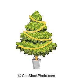 Money Tree. Christmas tree from dollar. Leaves from currency banknotes. Tree of cash. Financial tree with decoration of coins.