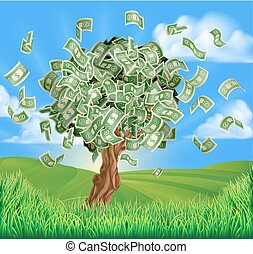 Money Tree Concept - A conceptual illustration of a tree...