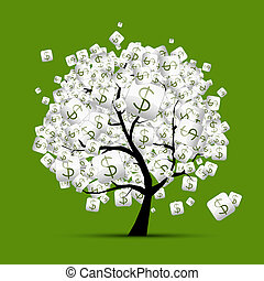 Money tree concept with dollar signs for your design