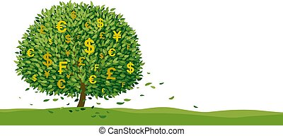 Money tree design on white background with copy space vector illustration