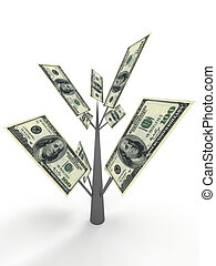 Money tree from dollar. Business concepts