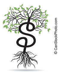 money tree-growing dollars - the growing dollars sign tree