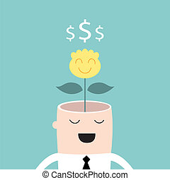 Money tree growing from businessman head Profit business success concept