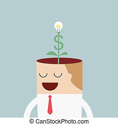 Money tree growing from businessman