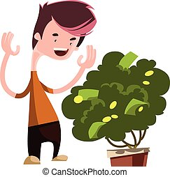 Money tree growing green