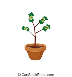 Money tree icon, cartoon style