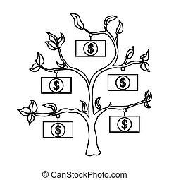 Money tree icon, outline style
