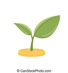 Money tree icon. Vector flat illustration isolated on white background.