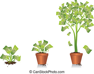 Illustration of a small plant developing into a money tree. Vector artwork is in layers and can be scaled and modified to fit your own design.