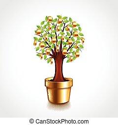 Money tree in a pot vector illustra