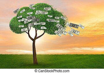 Money tree in business concept - 3d rendering